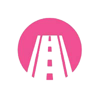 road icon in pink circle