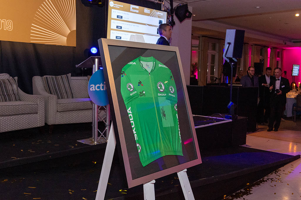A green signed ŠKODA cycling jersey in a frame