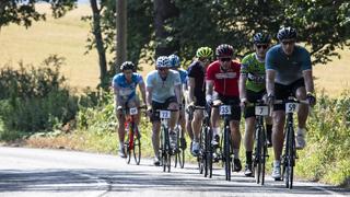 peloton of cyclists